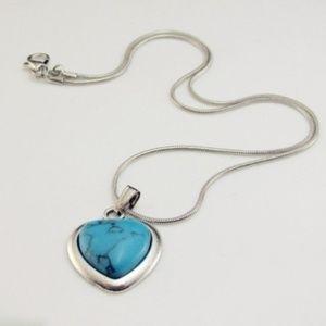 Faux Turquoise Heart SILVER Pendant Necklace